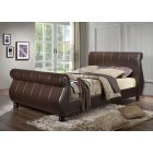 Marseille brown faux leather sleigh bed