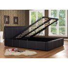 Ottoman black faux leather storage bed
