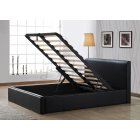 Ottoman brown faux leather storage bed
