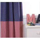 Mckenzie blue and red 100% cotton pleated curtains