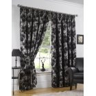 Hampton graphite floral pencil pleat readymade curtains
