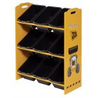 JCB yellow painted 9 bin storage unit