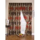 Lucille red floral pencil pleat readymade curtain