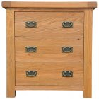 Montreux solid oak 3 drawer chest