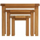 Montreux solid oak nest of 3 tables