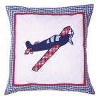 Aeroplane blue and white filled 40cm x 40cm cushion