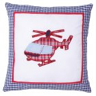 Aeroplane helicopter blue and white filled 40cm x 40cm cushion