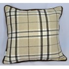 Chequers beige piped cushion cover, 43cm