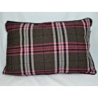 Chequers aubergine 60cm x 40cm rectangle piped cushion cover