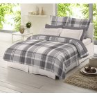 Grey check tartan 100% brushed cotton duvet cover