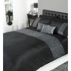 Chic black silk effect with sequins duvet set