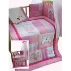 Pink bears patchwork style 5 piece cot/cotbed bedding bale set