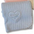 Heart design knitted Baby shawl - sky