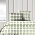 Anglesey pure cotton green and grey tartan check duvet cover