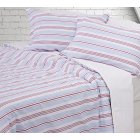 Cornwall red and blue striped pure cotton poplin duvet cover