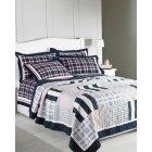 Nantucket navy patchwork quilted bedspread 200cm x 230cm
