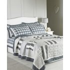 Nantucket grey patchwork quilted bedspread 200cm x 230cm