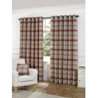 Isla berry check eyelet readymade curtains