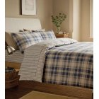 Tartan navy check brushed cotton duvet cover