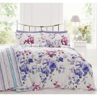 Puccini multi floral cotton reversible stripe duvet set