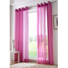 Plain ringtop readymade voile panel - cerise pink