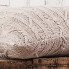 Arran taupe cable knit cushion 50cm