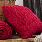 Arran red cable knit cushion 50cm