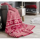 Messina Red hearts and floral jacquard blanket, 150 x 200cm