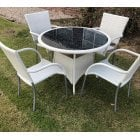 White wicker 4 seater garden set