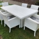 Pure white wicker 6 seater garden set