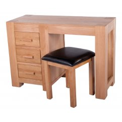 Hudson solid oak dressing table and stool set
