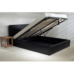 Madrid black faux leather storage bed