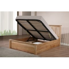Monaco solid oak storage ottoman bed