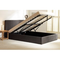Stirling charcoal fabric storage ottoman bed