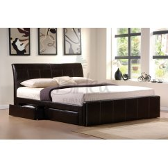 Madison brown PU leather storage bed