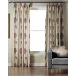 Mozart aubergine pencil pleat lined curtained