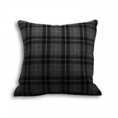 Chamonix charcoal tartan check cushion cover, 55cm