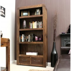shiro solid walnut large bookcase with 2 drawers