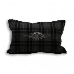 Chamonix charcoal tartan check oblong cushion cover
