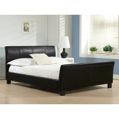 Winchester brown faux leather sleigh bed