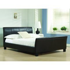 Winchester black faux leather sleigh bed