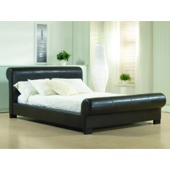 Valencia brown scrollback faux leather bed