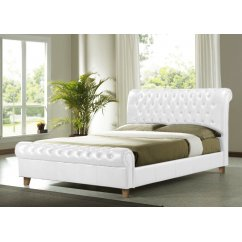 Richmond white faux leather chesterfield sleigh bed