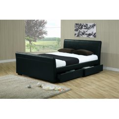 Houston black faux leather sleigh bed