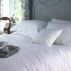Valencia white hand embroidered duvet cover