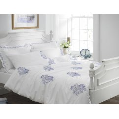 Toile blue and white embroidered duvet cover
