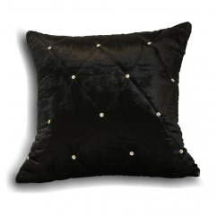 Diamante crystal black velvet cushion cover, 45cm