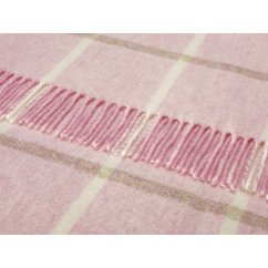 Windowpane pink heather shetland 140cm x 185cm pure new wool throw
