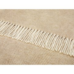 Variegated herringbone natural shetland 140cm x 185cm pure new wool throw