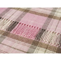 Skye check pink heather shetland 140cm x 185cm pure new wool throw